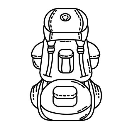 Backpack flat line icon. Camping or hiking element vector stock isolated image on white background. Glyph pictogram for web, mobile 向量圖像