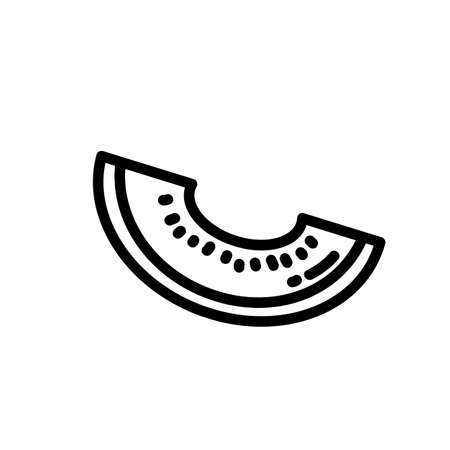 Cantaloupe melon outlined icon. Vector fruit   isolated on white background. Vegetarian food symbol, media glyph for web