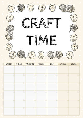 Craft time hygge month calendar with with candles and yarn ornament. Cozy boho planner with candles and yarn ornament. Cute template for agenda, planners. Stationary mockup