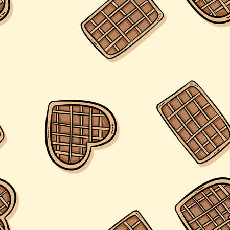 Belgian waffles doodles seamless border pattern. Cute cartoon tasty breakfast repeatable background tile. Cozy template of stock illustration for wrapping design, wallpaper 向量圖像