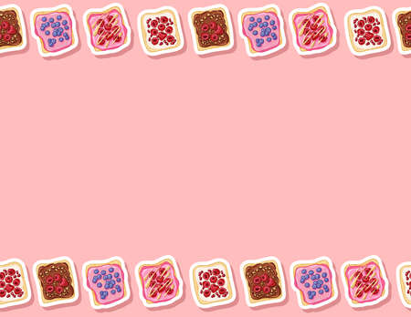 Toast bread sandwiches comic style seamless border pattern. Sandwiches with pink icing spread and berry doodles wallpaper. Breakfast food background tile