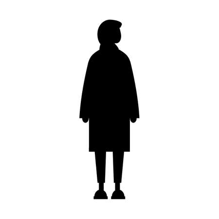 Woman flat style black silhouette with arabic hijab. Vector symbol of female standing. Black color isolated on white background 向量圖像