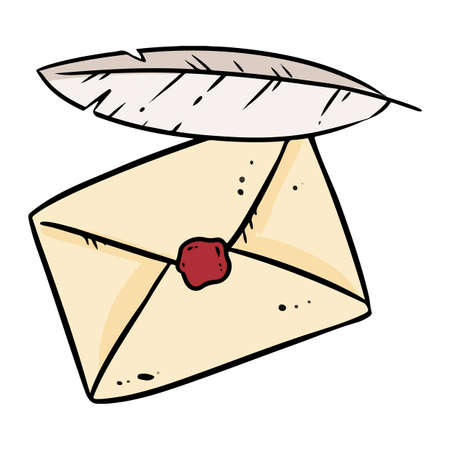 Envelope and quill doodle image. Cute cartoon of letter and feather logo. Media highlights graphic hand drawn sticker icon