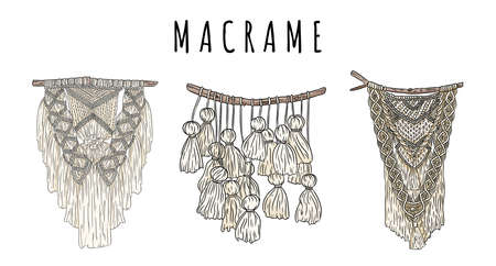 Set of macrame bohemian style wall hangers doodle. Textile knotting boho design elements. Indigenous linear modern authentic knotwork image