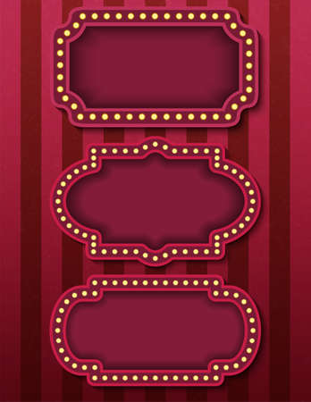 Circus signboards. Vector stock brightly glowing retro cinema neon signs banners. Circus style evening show banner templates. Background vector images