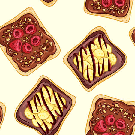 Toast bread sandwiches comic style seamless border pattern. Sandwiches with chocolate or peanut butter wallpaper. Breakfast food background tile 向量圖像