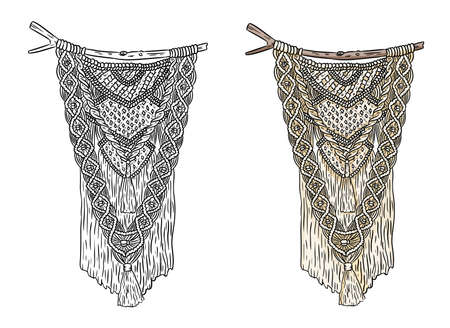 Set of macrame boho style labels. Textile knotting design elements. Simple mono linear indigenous wall hangers 向量圖像