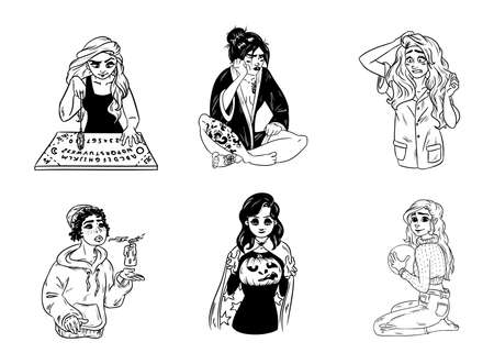 Set of hand drawn witches. Collection of black and white outline images of young magical females. Çizim