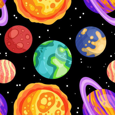 Planets, stars and satellites on a starry sky space seamless pattern background. Solar system outer space planets children wallpaper texture tile. Vector stock illustration 矢量图像