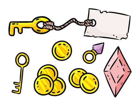 Set of cute cartoon rpg game assets. Comic style board game symbols. Table top game elements. Key, golden coins, crystals. Çizim