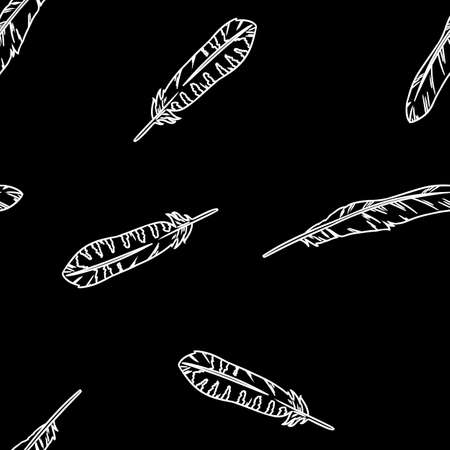 Bohemian feathers doodle white lineart on black chalkboard seamless pattern. Freehand owl or hawk quill background. Vector illustration. Cozy lagom style background tile Çizim