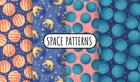 Set of cosmos seamless space pattern background with planets. Collection of solar system planets children wallpaper texture tiles
