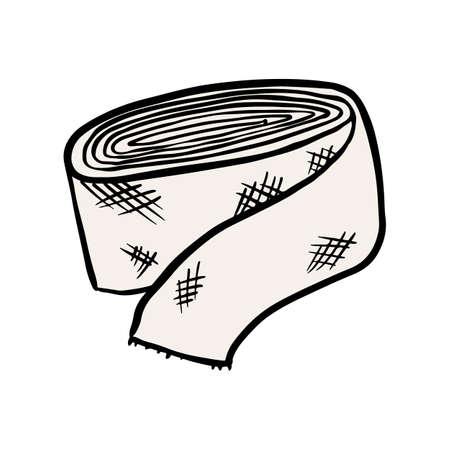 Elastic bandage doodle vector image. Medical plaster symbol isolated on white background Çizim
