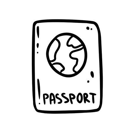 Cute cartoon passport doodle image logo. Travelogue logo. Media highlights graphic symbol