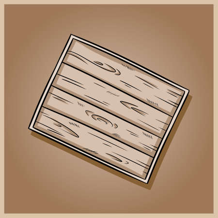 Decorative old wooden rustic tray doodle illustration. Top view hand drawn tray. Vector image on brown table background Çizim
