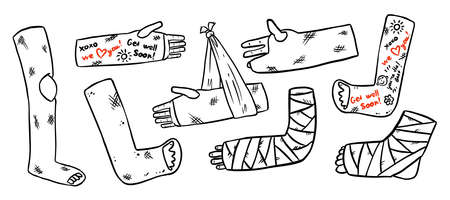 Set of broken legs, arms and hands cast doodles with positive writings from friends. Collection of injured limbs in gypsum plasters. Get well soon wishes. Media glyph graphic icons Çizim