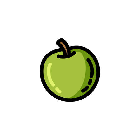Apple flat outlined colorful icon. Vector fruit logo isolated on white background. Vegetarian food symbol, media glyph for web Çizim