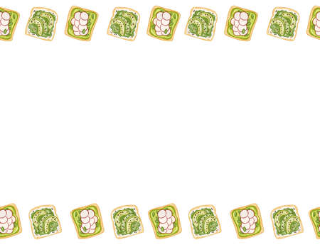 Toast bread sandwiches comic style seamless pattern. Sandwich with avocado, radish and green spread doodles. Breakfast or lunch. Letter format decoration background texture tile. Space for your text Çizim