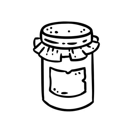 Jam jar doodle image. Cute cartoon jam. Media highlights graphic icon