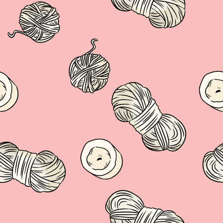 Cotton yarn and candles comic style doodles top view on pink seamless border pattern. Cozy boho template texture background tile