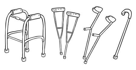 Set of crutches for disabled people doodles. Collection of walking support vector glyph graphic symbols