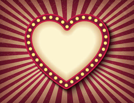 Brightly glowing heart retro cinema neon sign. Saint Valentine Day circus style show banner template. Background vector poster love postcard Çizim