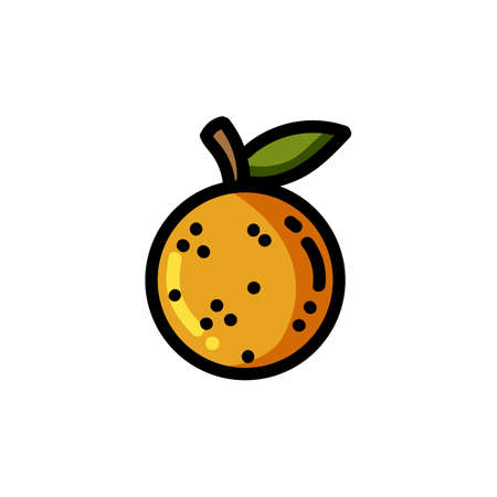 Orange flat outlined icon. Vector fruit  isolated on white background. Vegetarian food symbol, media glyph for web