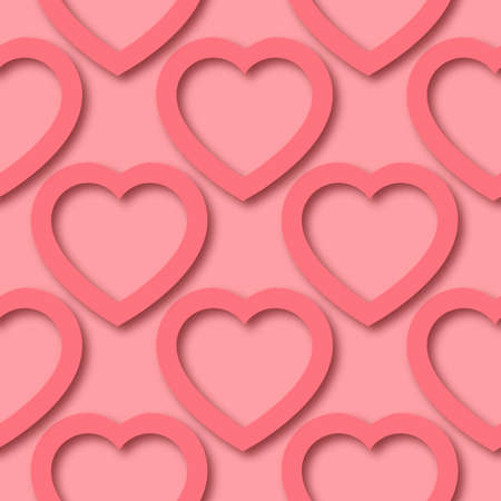 Cute romantic paper cut hearts on pink background seamless border pattern. Saint Valentine Day vector repeatable background tile. Cozy craft template of stock illustration for wrapping design