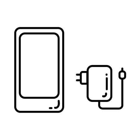 Smartphone and phone charge flat line icon. Digital equipment element vector stock isolated image on white background. Glyph pictogram for web, mobile and infographics