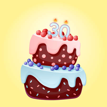 Thirty years birthday cake with candles number 30. Cute cartoon festive vector image. Chocolate biscuit with berries, cherries and blueberries. Happy Birthday illustration for parties, anniversaries Çizim
