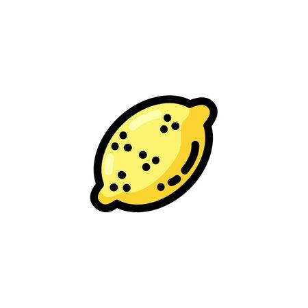 Lemon flat outlined icon. Vector fruit logo isolated on white background. Vegetarian food symbol, media glyph for web Çizim