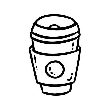 Coffee cup icon. Social media highlight logo doodle