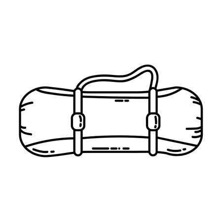 Raincoat tent rolled up into a roll flat line icon. Camping mat or hiking element vector stock isolated image on white background. Glyph pictogram for web, mobile and infographics