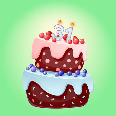 Thirty one years birthday cake with candles number 31. Cute cartoon festive vector image. Chocolate biscuit with berries, cherries and blueberries. Happy Birthday illustration for parties