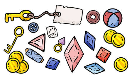 Set of cute cartoon rpg treasure game assets. Comic style board game symbols. Table top game elements. Key, golden coins, crystals images. Çizim