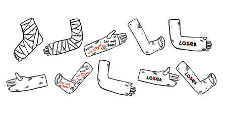 Set of broken legs, arms and hands cast doodles with funny writings from friends. Collection of injured limbs in gypsum plasters. Get well soon wishes. Media glyph graphic icons