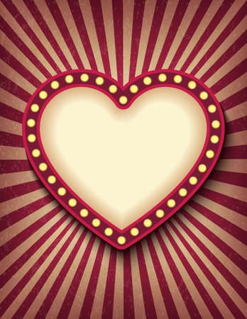 Brightly glowing heart retro cinema neon vertical sign. Saint Valentine Day circus style show banner template. Background vector poster love postcard