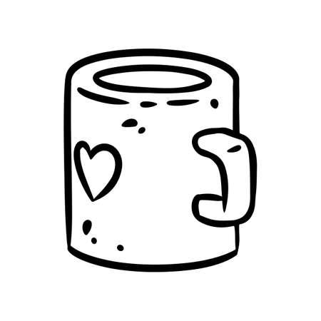 Cute cartoon mug doodle image. Hygge time logo. Media highlights graphic icon