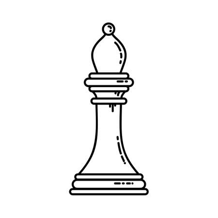 Chess flat bishop icon. Stock vector image of a chess rook isolated outlined piece.