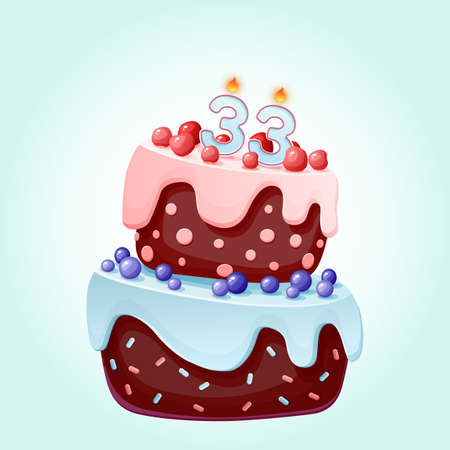 Thirty tree years birthday cake with candles number 33. Cute cartoon festive vector image. Chocolate biscuit with berries, cherries and blueberries. Happy Birthday illustration