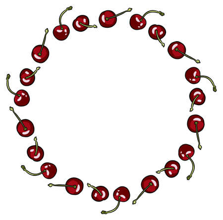 Cherry wreath isolated on white background. Red ripe juicy berries. Vector bright colorful stock illustration in cartoon comic art style. Иллюстрация