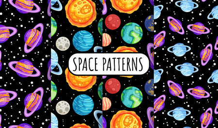 Set of space seamless pattern background with planets. Collection of cosmos solar system planets children wallpaper texture tiles. Vector stock images collection