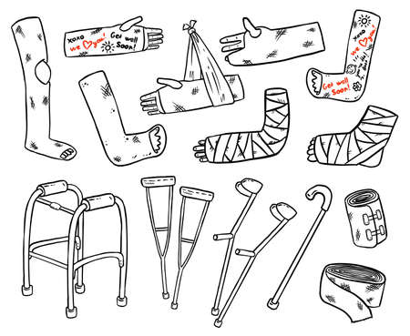 Set of crutches for disabled people with broken legs, arms and hands cast doodles. Collection of injured limbs in gypsum plasters and walking support. Media glyph graphic symbols
