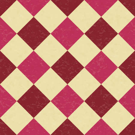 Circus carnival retro vintage dominoes seamless pattern. Argyle diamond shaped rhombuses. Textured old fashioned retro graphic template. Vector background tile Иллюстрация
