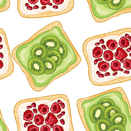 Toast bread sandwiches comic style seamless border pattern. Sandwiches with raspberries and kiwis wallpaper. Breakfast food background texture tile