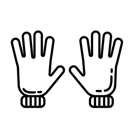 Pair of gloves flat line icon. Casual clothing piece element vector stock isolated image on white background. Glyph pictogram for web, mobile and infographics
