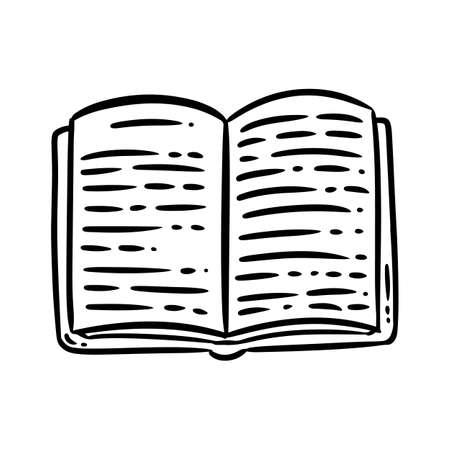 Cute cartoon book doodle image. Book shop logo. Media highlights graphic icon Иллюстрация
