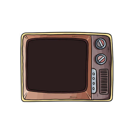 Retro vintage television doodle. Old fashioned tube tv stand vector image.