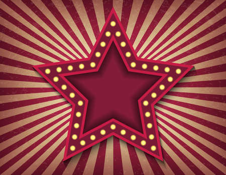 Brightly glowing star retro cinema neon sign. Victory Day. Circus style show horizontal template. Striped swirl textured background. Background vector poster banner