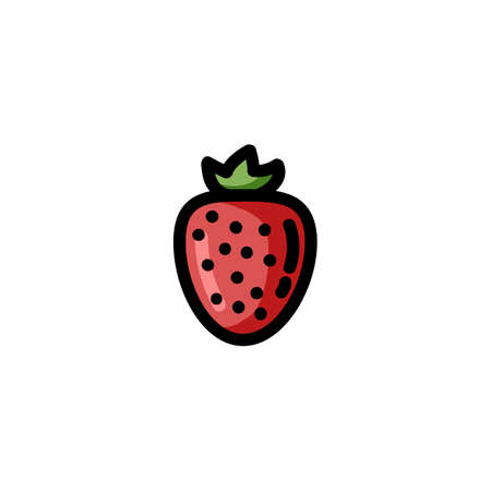 Strawberry flat outlined icon. Vector fruit logo isolated on white background. Vegetarian food symbol, media glyph for web